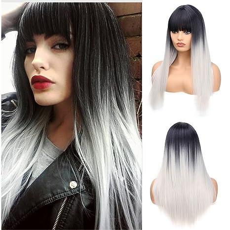 Ani · Lnc peluca de pelo negro plata de las mujeres con pelucas de pelo lacio