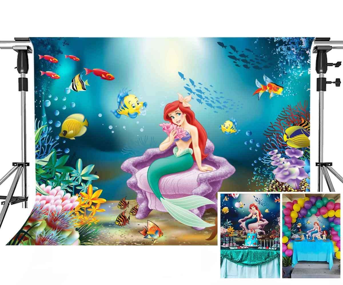 Meets 7x5ft Mermaid Princess Backdrop Underwater World Photography Background Themed Party Photo Booth YouTube Backdrop NANMT921