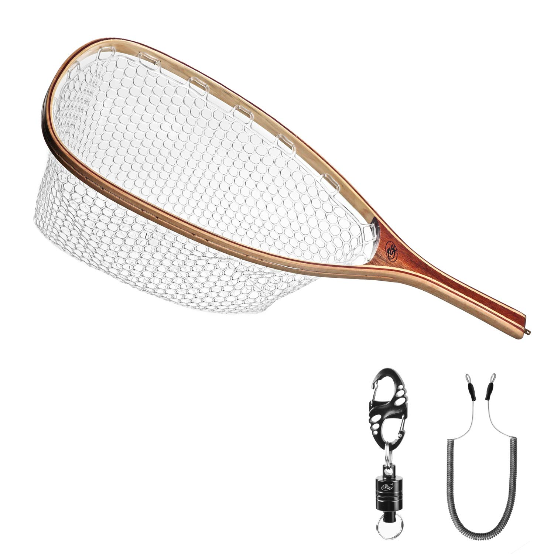 Fly Fishing Net Wooden Handle Landing Soft Rubber Mesh Trout Fishing Net Black