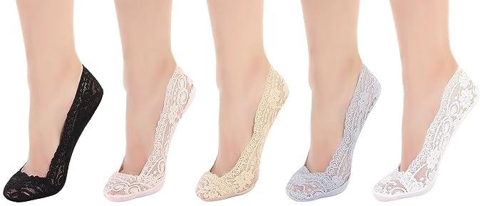 e4c006beb5dad Eozy Lot 5 Paires Chaussette Femme Fille Dentelle Socquette Invisible  Extensible Silicone Unie