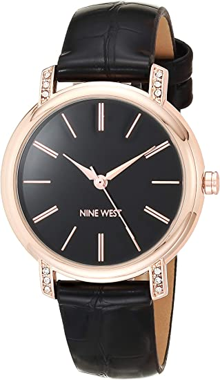 Nine West Women's Crystal Accented Croco-Grain Strap Watch, NW/2516