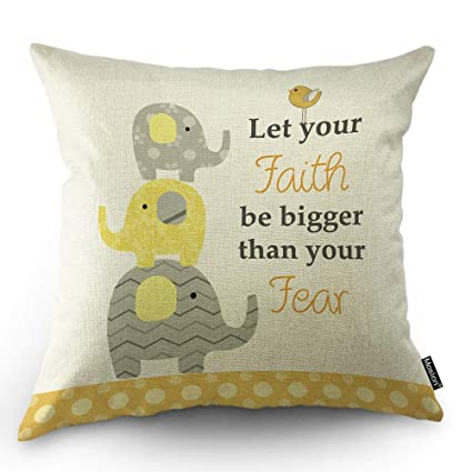 Elephant Pillows Motivational Quote Faith Fear with ...