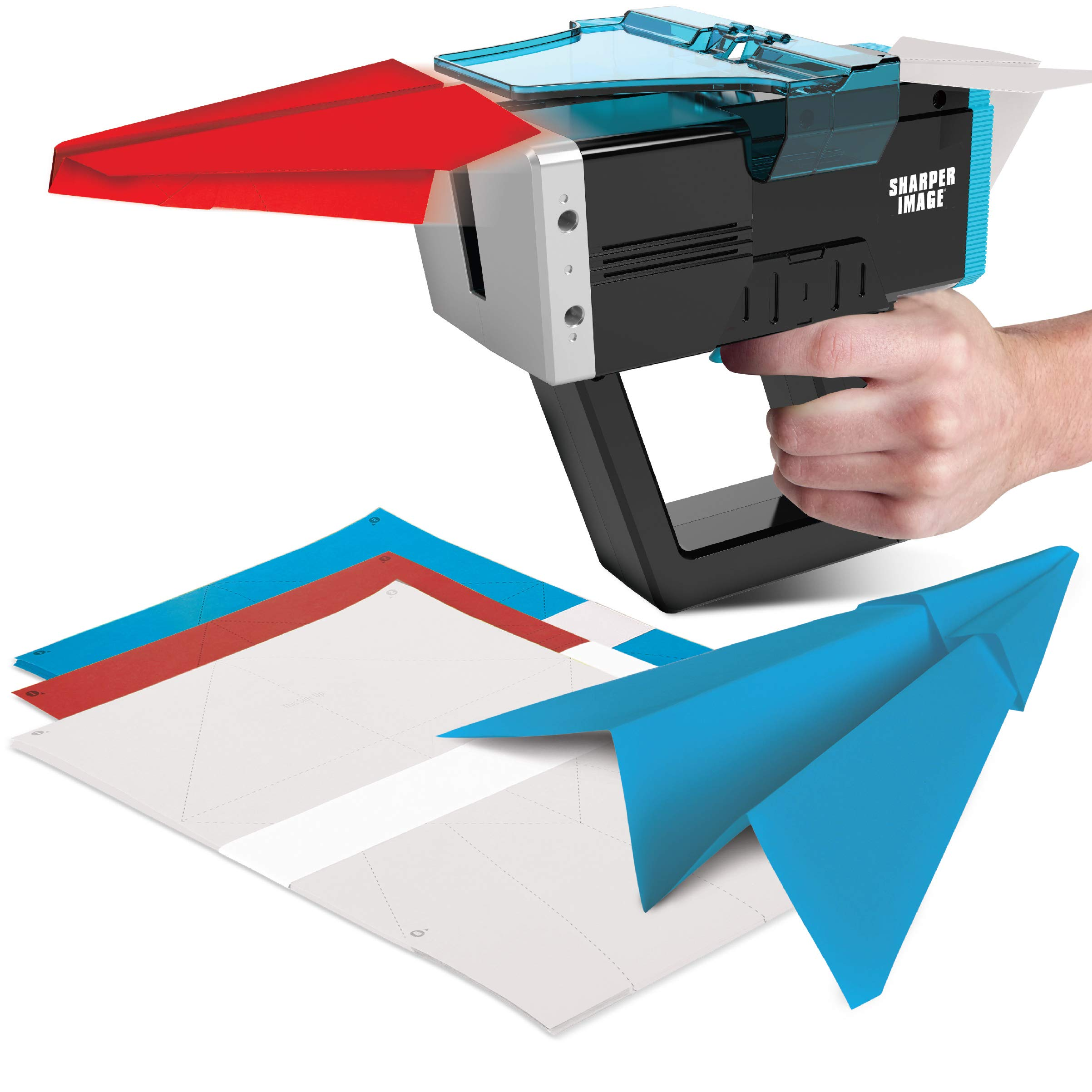 Sharper Image DIY Paper Airplane High Velocity Launcher, Battery-Power Motorized Plane Thrower, Fun Gadget, Adults and Teens, Indoor or Outdoor, Included Sheets, Arts and Crafts, Launch Your Gliders