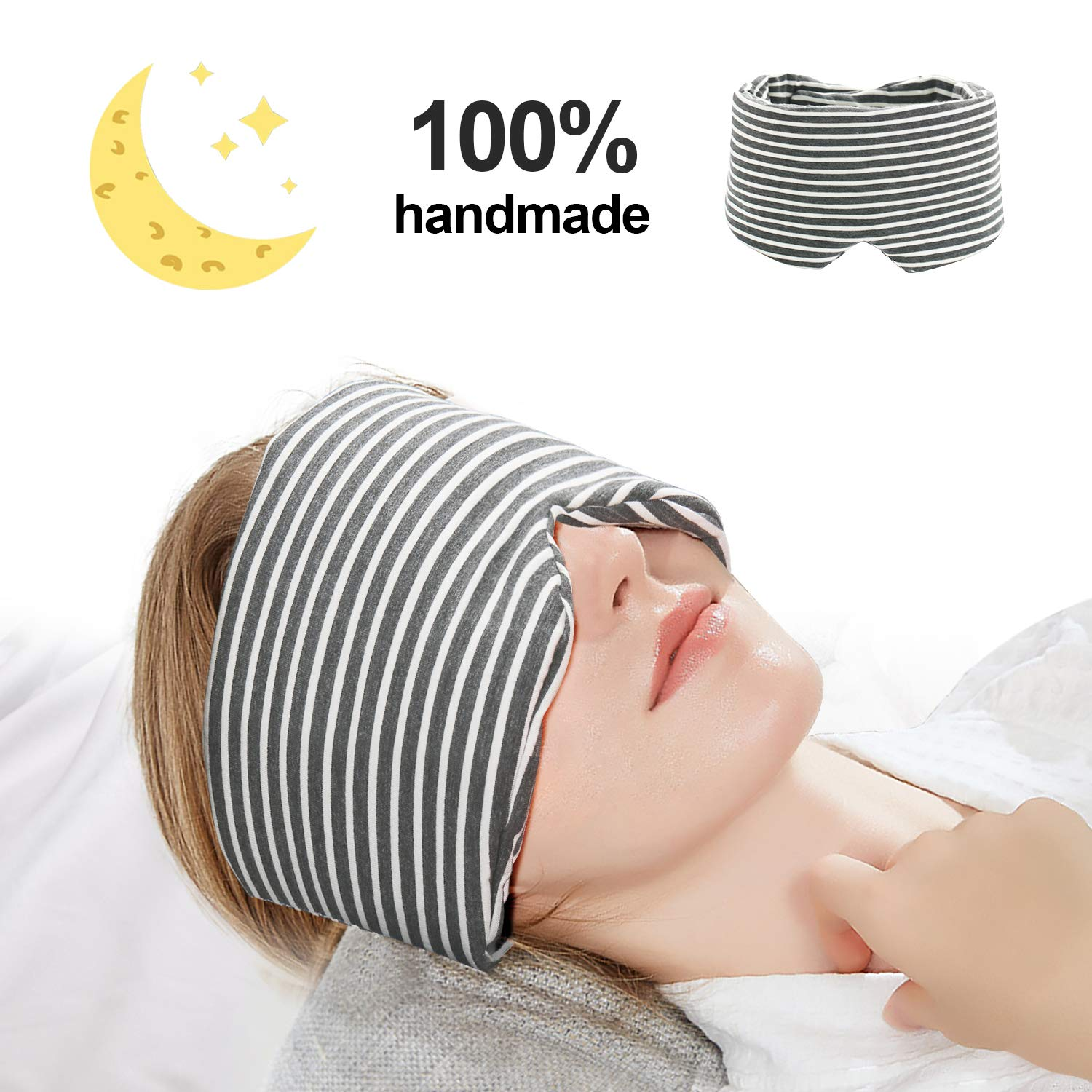 isnowood Cotton Sleep Mask - 100% Handmade Light Blocking Eye Mask for Woman Man Kids, Adjustable Blinder Blindfold with Travel Pouch for Airplane, Camping, Travel, Shift Work (Gray) by isnowood