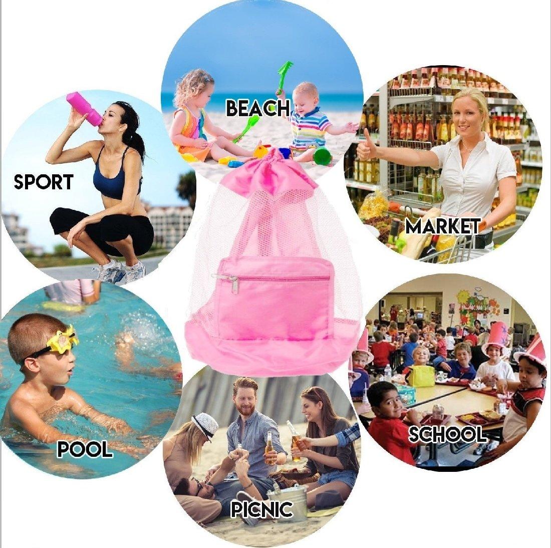 COOLGO XL Duradero Bolsa Playa Plegable Mochila de Playa con Cord/ón Ni/ño Bolsa de Rejilla para meter los Juguetes de la Playa y la Piscina Bolsa de Malla de Arena Grande