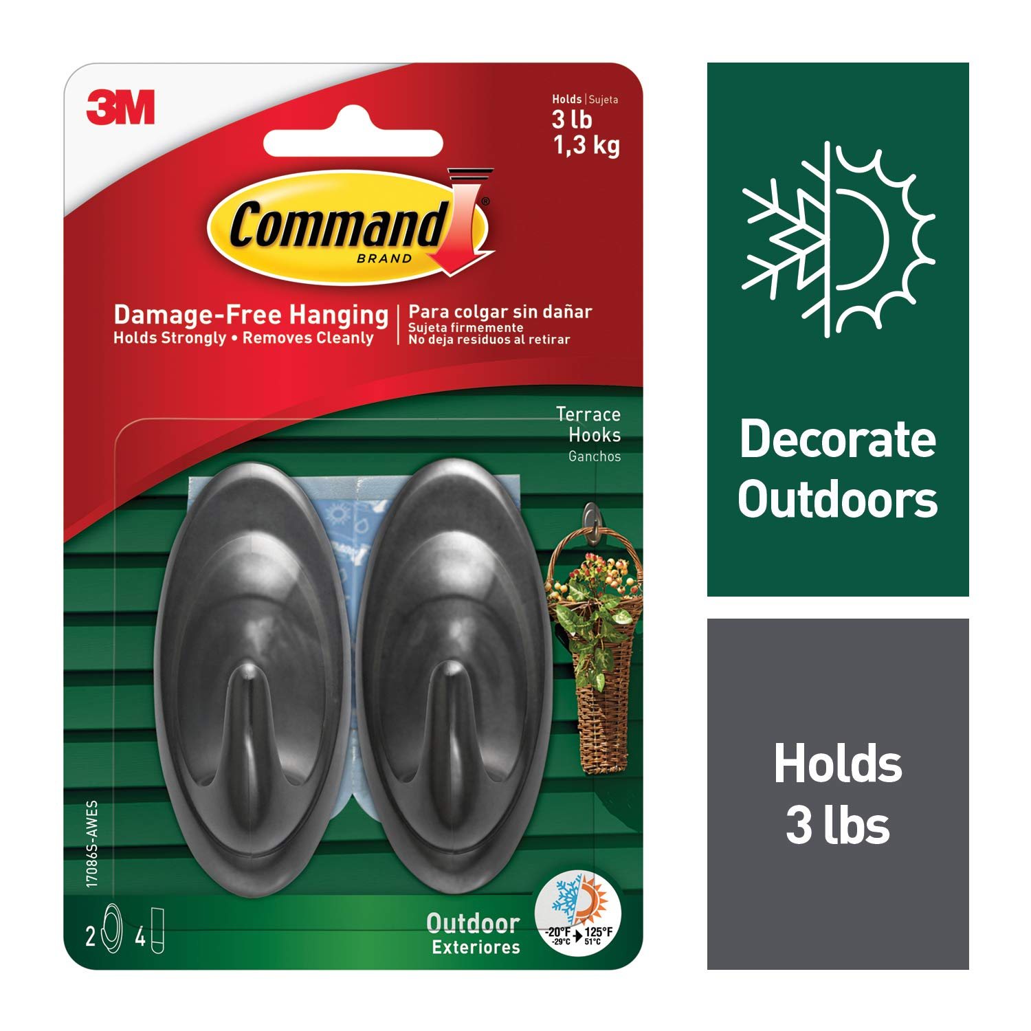 Command Outdoor Terrace Hook Medium Slate 2 Hooks 17086S AWES