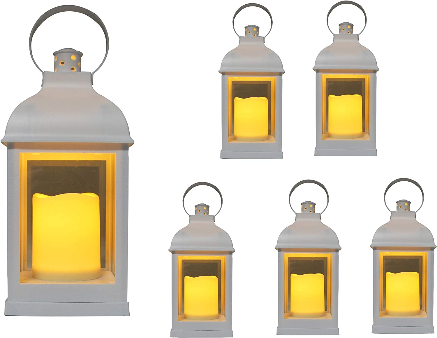 """Just in Time for Weddings {6pc Set} 10"""" Decorative Lanterns + L E D Lighted Candle w/ Flickering + 5 Hr Timer Antique Looking for Indoor Ambient Home, Outdoor Patio or Party Lights, Weddings - White"""
