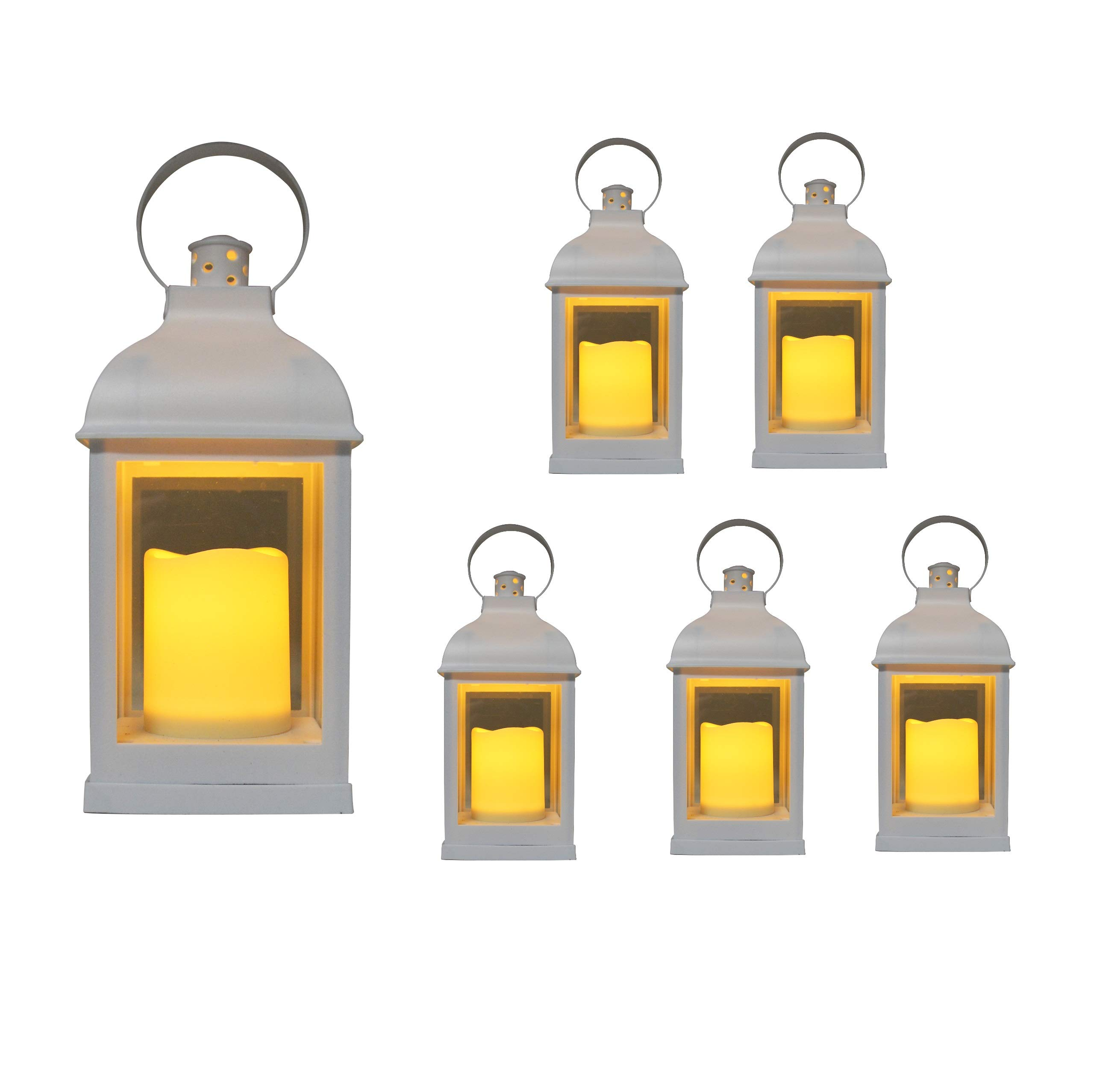 ''Just In Time for Spring'' {6pc Set} 10'' Decorative Lanterns + L E D Lighted Candle w/ Flickering + 5 Hr Timer Antique Looking for Indoor Ambient Home, Outdoor Patio or Party Lights, Weddings - White