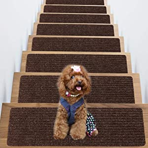 "Non-Slip Carpet Stair Treads, Set of 15 Indoor Skid and Slip Resistant Mats, Rug Non Skid for Grip, Safety Slip Resistant for Kids, Elders, and Pets. 8"" X 30"", Brown"