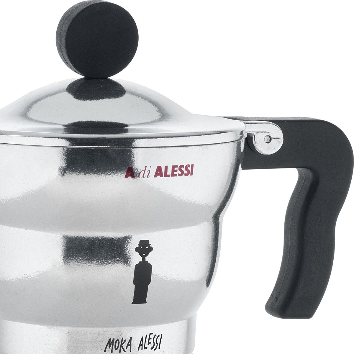 Alessi AAM33/3''Moka'' Stove Top Espresso 3 Cup Coffee Maker in Aluminium Casting Handle And Knob in Thermoplastic Resin, Black