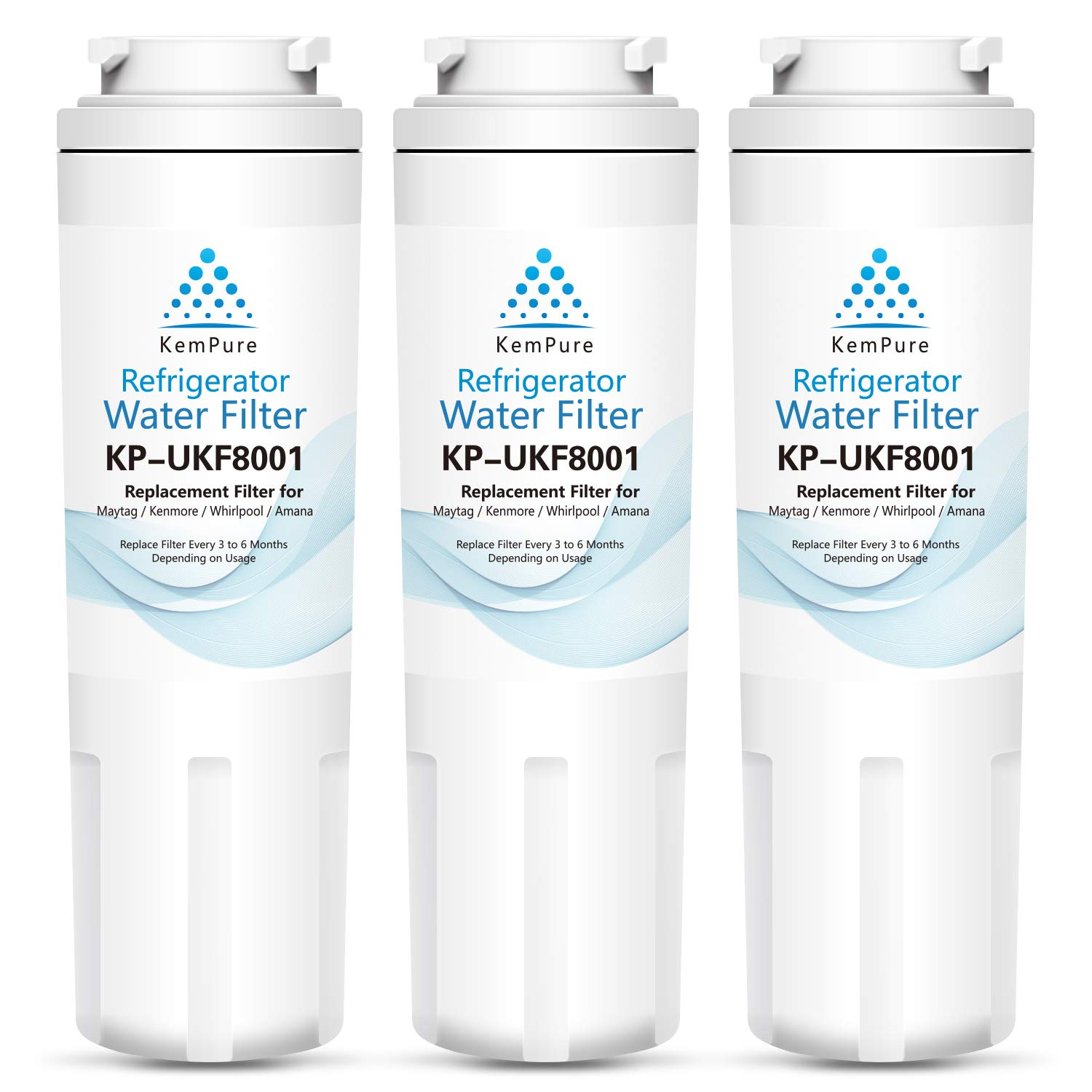 UKF8001 Refrigerator Water Filter, Compatible with Maytag UKF8001AXX, Whirlpool 4396395, Filter 4, EDR4RXD1, Kenmore 46-9006, PUR, Puriclean II, by KemPure [Pack of 3]