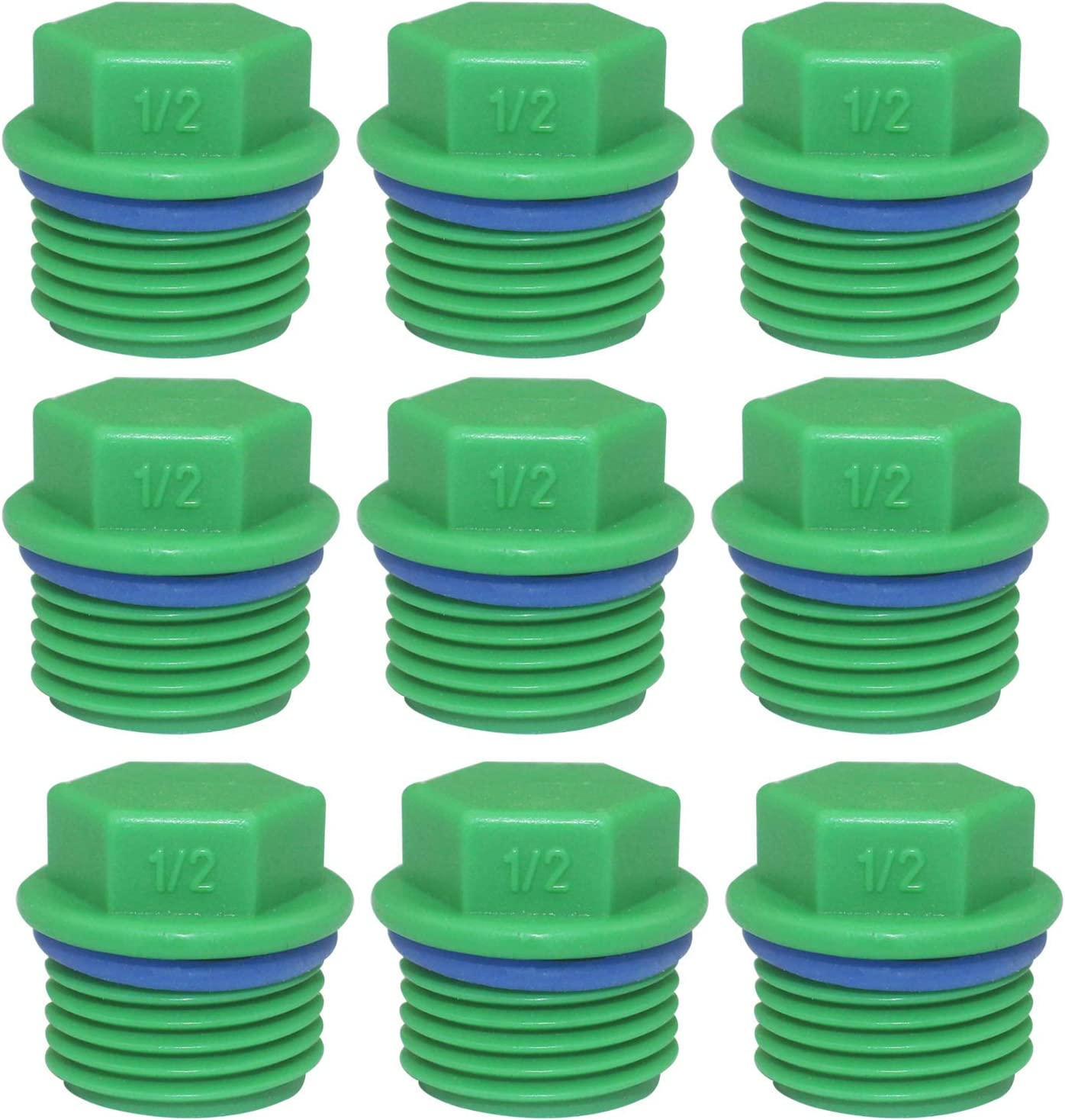 30 Pieces Male Threaded PPR End Cap Plugs Garden Irrigation Pipe Fittings Water Tubing Stopper for Preventing Leakage Clogging (1/2 inch)