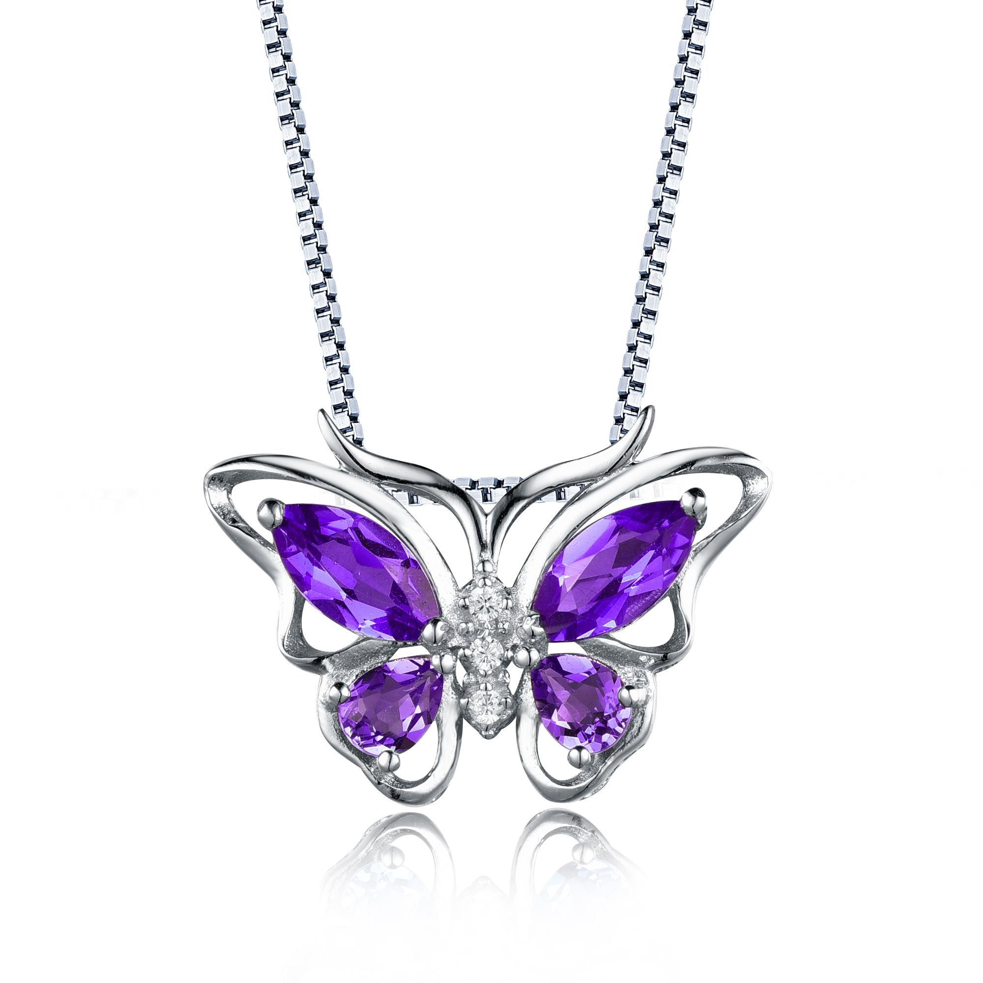 Aurora Tears Purple created-amethyst Butterfly Pendant Necklace Chain for Women Girls DP0013P