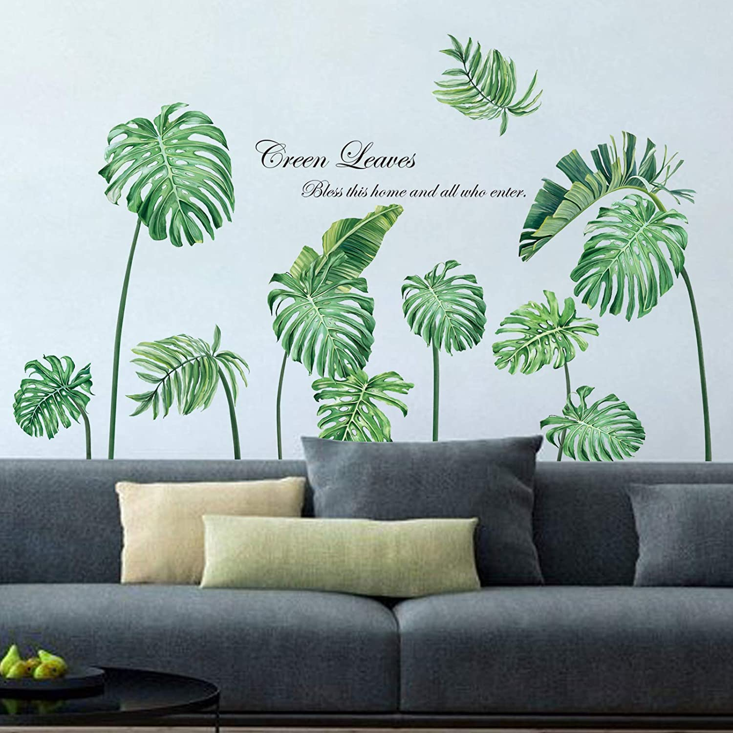 decalmile Green Tropical Leaves Wall Decals Palm Tree Leaf Plants Wall Stickers Bedroom Living Room Sofa TV Background Wall Art Decor