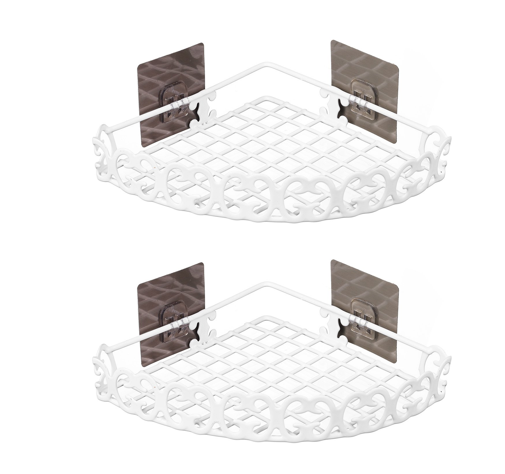 """Chic and Adhesive Wall Mount 2 Tier Shelf Rack for Kitchen Spices or Bathroom Product Holder in Semidiameter 7.5"""" - Pack 2 (White) - Quick Installation: Just peel off the cover and install. No drilling and tool needed, and no damage to your wall Removable Powerful Adhesive: Traceless adhesive, ensuring strong bearing and adhesion PVC surface treatment, more durable and waterproof - shelves-cabinets, bathroom-fixtures-hardware, bathroom - 71pEDF0qp3L -"""