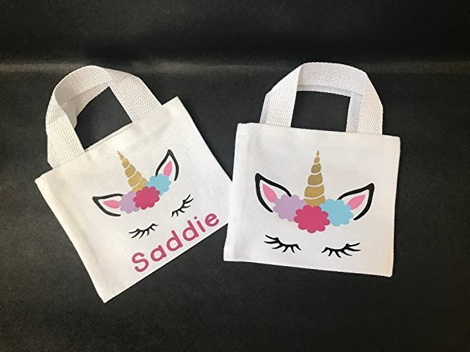Image Unavailable & Amazon.com: Unicorn Canvas Favor Bags - personalized gift bag ...