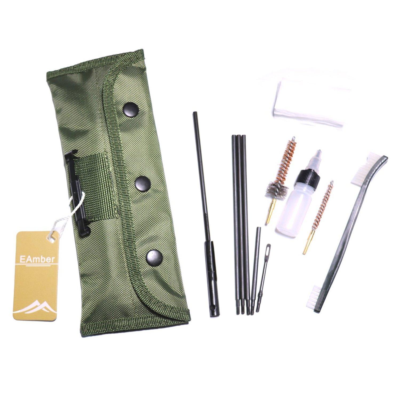 Eamber M 16 AR 15 Cleaning Kit Set Rifle Shotgun Gun Cleaning Kits Portable Clean Kit Supplies for 5.56mm/.223/.22 Cal Gun with Olive Green Bag