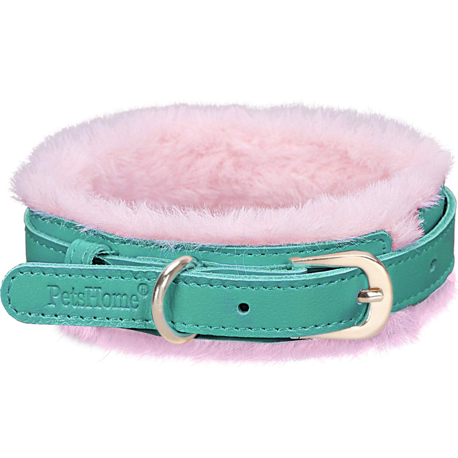 A-Mint Green M A-Mint Green M PetsHome Dog Collar, Cat Collar, [Genuine Leather][Soft Fur] Adjustable Collars for Small Dog and Cat Medium Mint Green