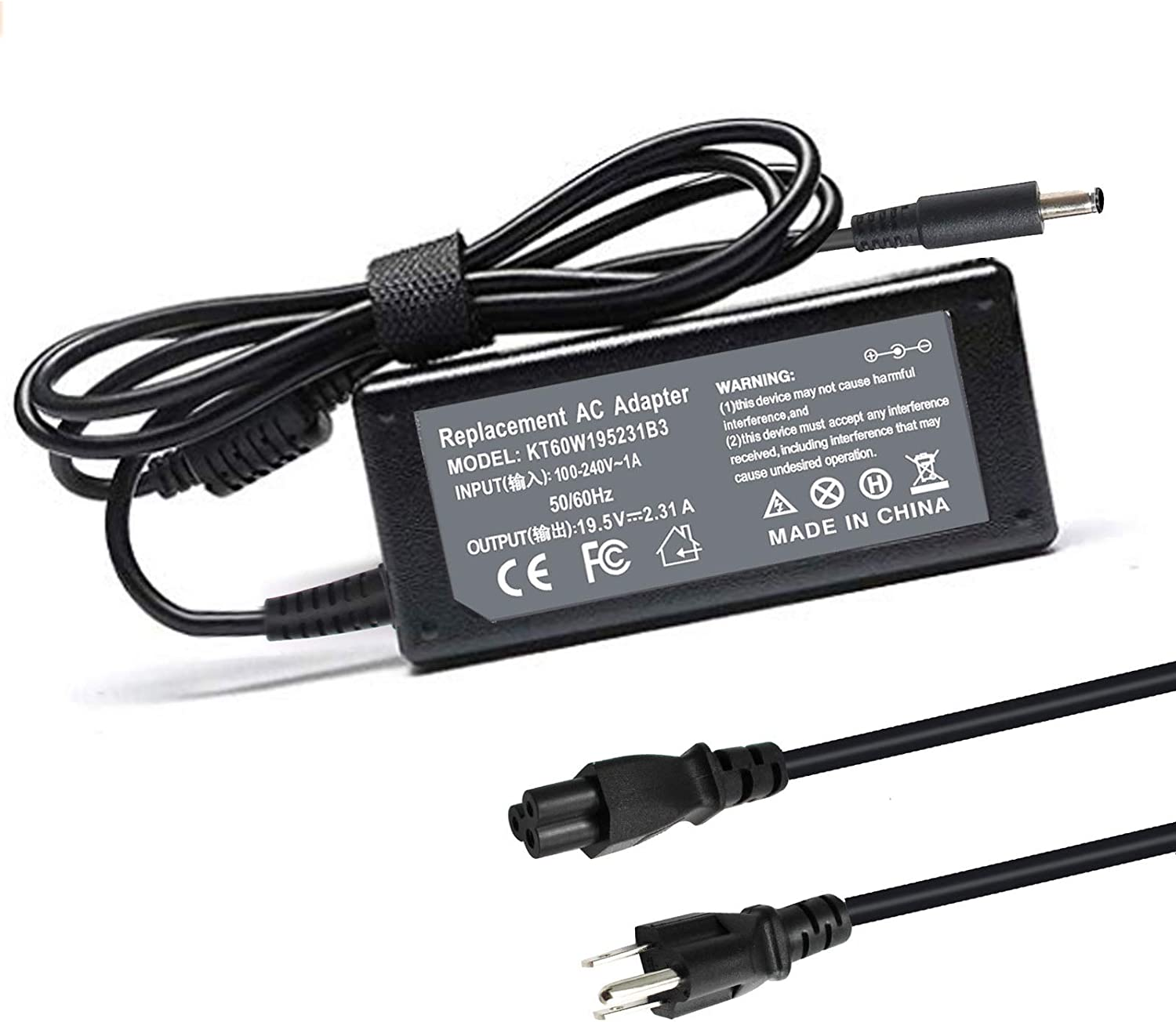 Shareway 19.5V 2.31A 45W AC Adapter Fit for Dell Inspiron 3583 3580 3581 3780 3785 3585 3593 3793 5593 5558 5559 P51F P58F P63F P75F P78F P24T P25T P32E P28E P30E P57G P60G P83G Power Supply Cord