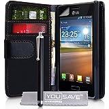 Yousave Accessories lg-fa01-z105p Pack Schutzhülle aus Leder + Eingabestift + Displayschutzfolie für Bildschirm für LG Optimus L5E610