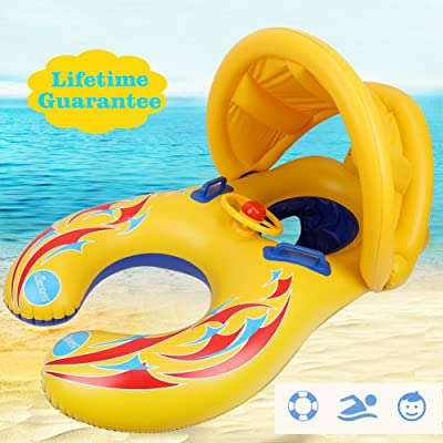 punada Baby Pool Float with Canopy Inflatable Swimming Floats for Kids (Mommy&Baby) : Baby