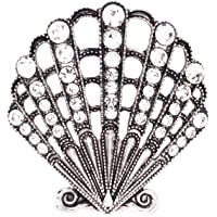 Jewelry Made By Me Coastal Scallop Shell Brooch Pin, Antique Silver