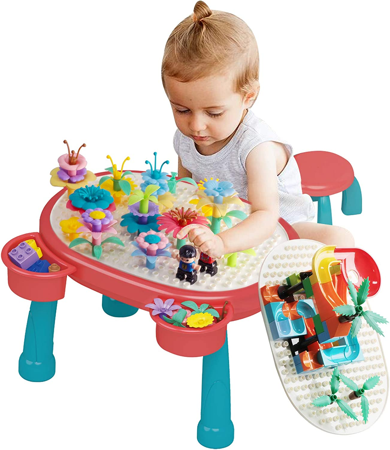 Flower Garden Building Toys & Marble Run Building Blocks Kids Activity Table, Toy for 3 4 + Year Old Girls Boys, Pretend Gardening & Building Educational Toys Christmas Birthday Gift