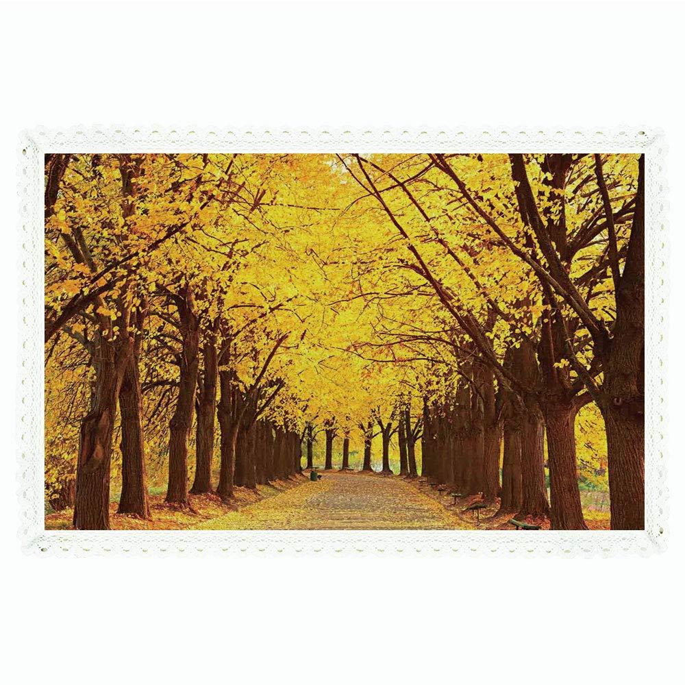 ランドスケープ 長方形ポリエステルリネンテーブルクロス/植物園秋の紅葉 秋のリンデンアリー キエフウクライナのイメージ/ディナーキッチン ホームデコレーション 55インチx72インチ イエローブラウン 60