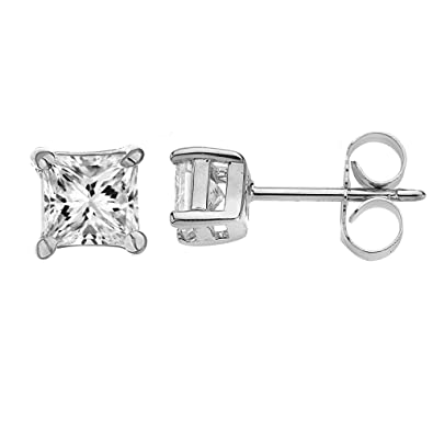 87565a97b Amazon.com: Ritastephens 14k White Gold Square Princess-cut Cubic Zirconia  Butterfly Back Stud Earrings 6 mm: Jewelry