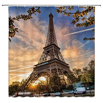 Feierman Sunset Eiffel Tower Shower Curtain Decor Beautiful Paris At Dusk Fabric Bathroom Set