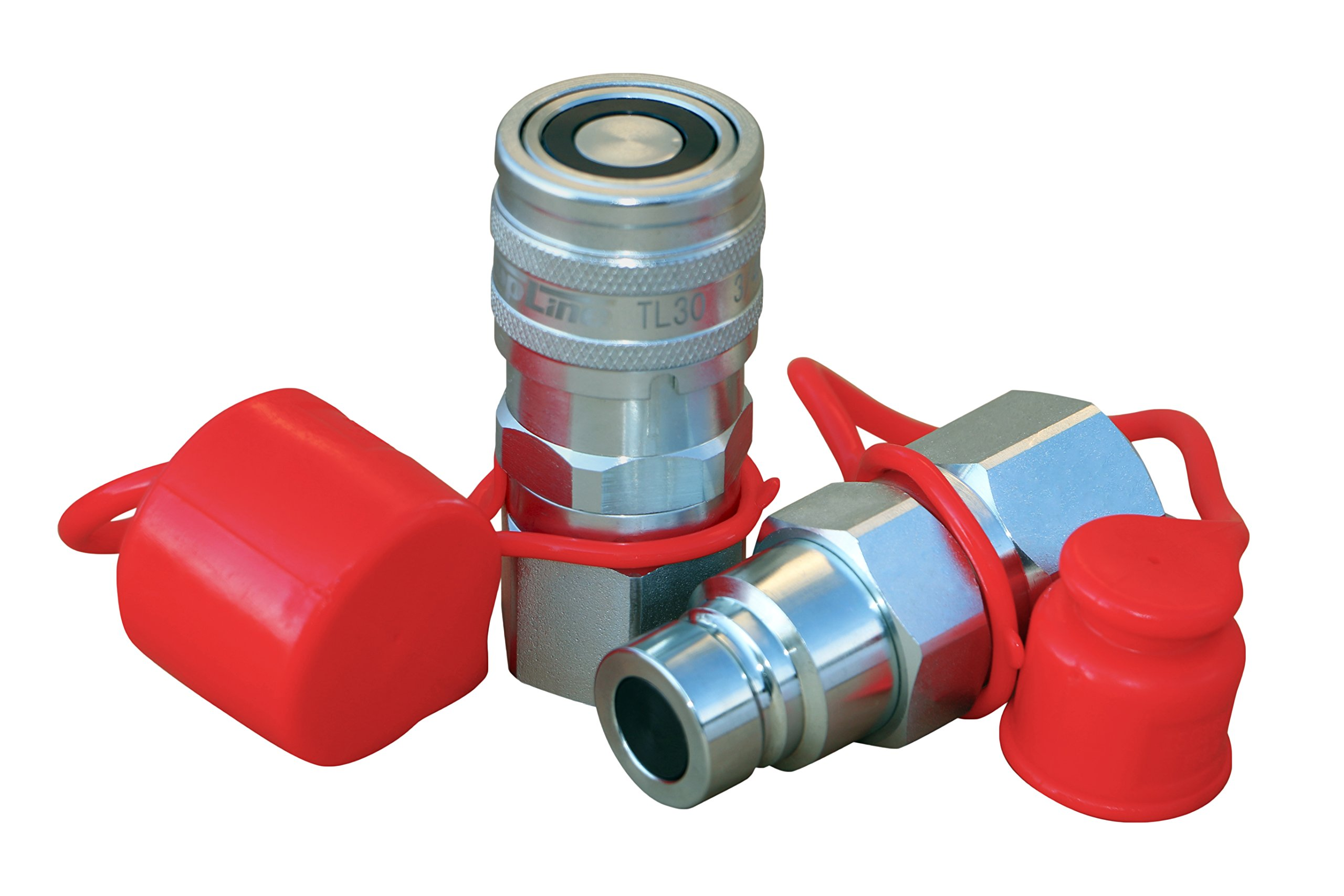TL30 3/4'' NPT Thread 1/2'' Body Size Flat Face Quick Connect Hydraulic Coupler w/dust caps Coupling Bobcat Skid Steer Loader