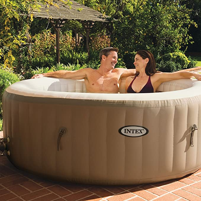 Intex 28404EX - Spa hinchable burbujas, 4 personas, 795 litros, 220-240v,color crema, 196 x 71 cm