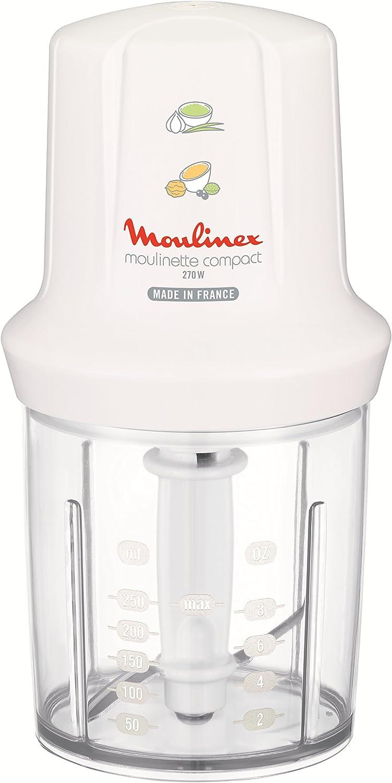 Moulinex Multimoulinette Compact DJ300110 Picadora, 0.25 l de Capacidad, Sistema de Seguridad Integrado, 270 W, Blanco