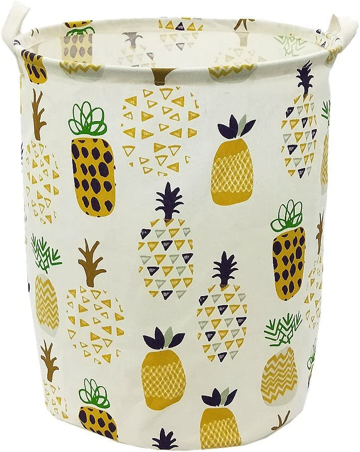 "TIBAOLOVER 19.7"" Large Sized Waterproof Foldable Canvas Laundry Hamper Bucket with Handles for Storage Bin,Kids Room,Home Organizer,Nursery Storage,Baby Hamper with Pineapple Design(Yellow)"