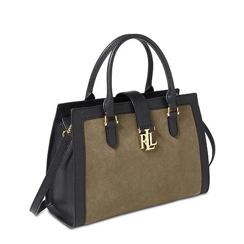 9b48fc98c6 Lauren Ralph Lauren Carrington Brigitte II Colorblock Satchel (Sage Black)   Amazon.ca  Shoes   Handbags
