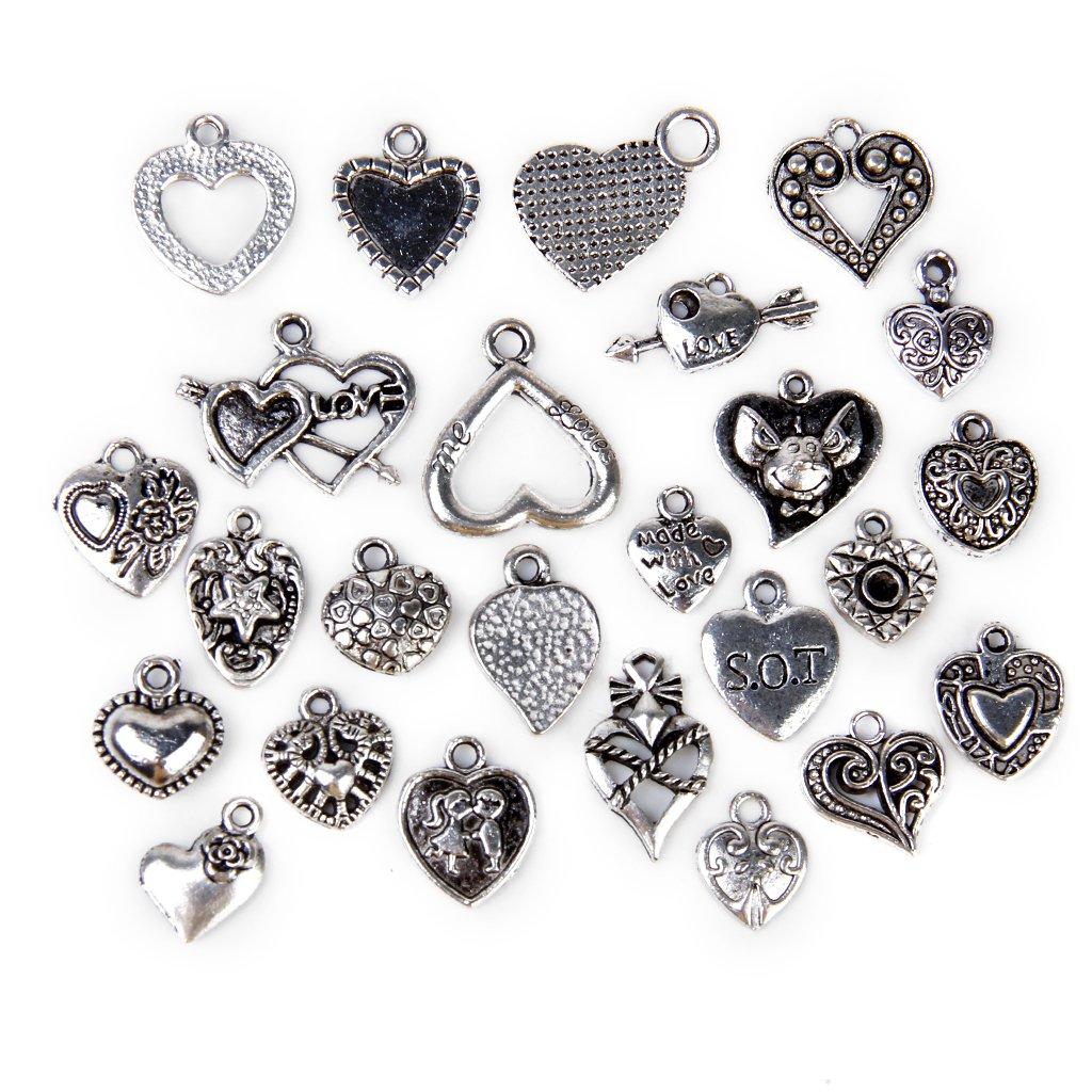 25pcs Various Heart Shapes Pendants Charms Beads--Silver