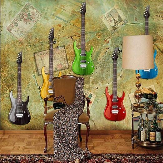 Amazhen Papel Pintado 3D Retro Colorido Guitarra eléctrica ...