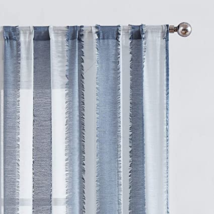 """White Blue Striped Sheer Curtains with Eyelash Detailing for Bedroom 96""""  Long Voile Window Treatment Set for Living Room Draperies 38"""" Width x 2 ..."""