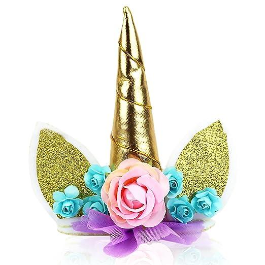 Ndier Conjunto de Primeros de Pastel de cumpleaños de Oro Unicornio Hecho a Mano. Cuerno Unicornio, Orejas y Flores. Decoración de Fiesta de Unicornio ...