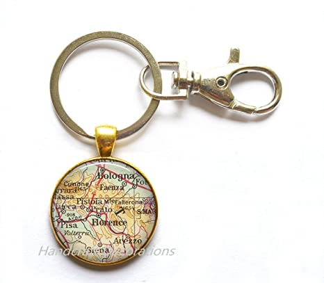 Amazon.com: Charming Keychain,Florence, Italy map Keychain ...