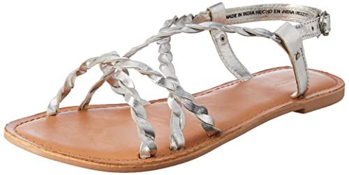 265a9afb4 Forever 21 Women s Silver Leather Fashion Sandals-4 UK India (36 EU)