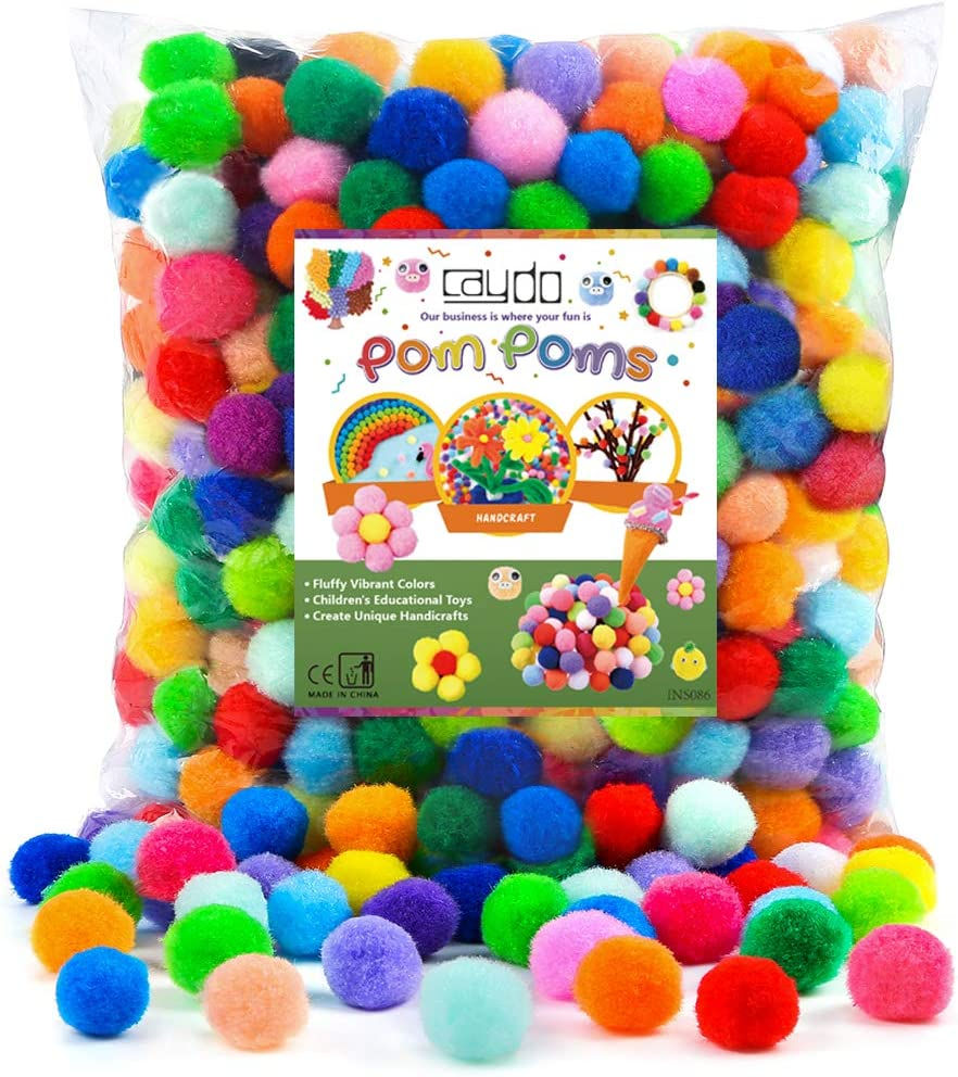 UPINS 1000 Pieces 0.4 Pompoms Assorted Fuzzy Pom Poms Balls with 1000 Pcs Self-Adhesive Black Wiggle Googly Eyes for DIY Creative Crafts Decorations