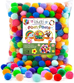 Craft Pom Pom Balls Kids Craft Project Colorful Pompoms for DIY Creative Crafts Decorations 300 Pieces 1 Inch Assorted Pom Poms