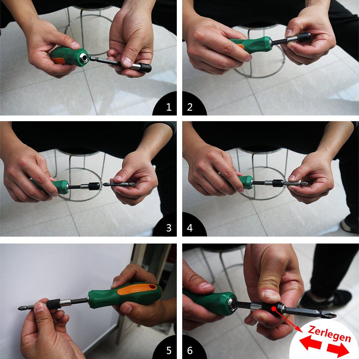 tefeler 3tlg Cambio Rápido Bit Plana 1/4 hexagonal magnética Bit Plana + alargador flexible 200 mm Destornillador Bit + 10pcs puntas para taladro