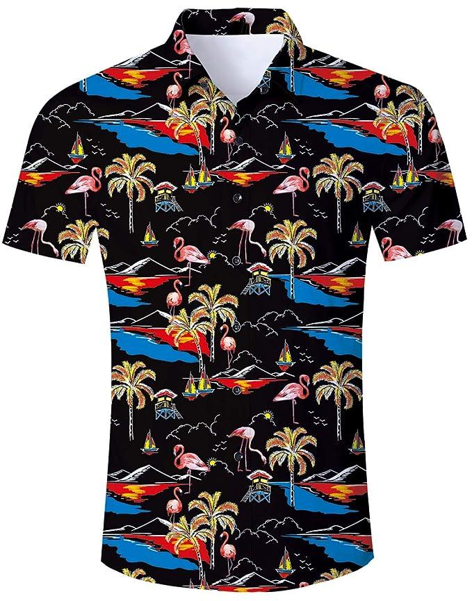Hawaiian camiseta para hombre Flamenco hoja de impresión