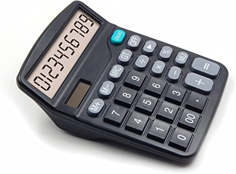 OFFDIX Large Office Calculators Office Desktop Black Calculator for 2018 Gift, Solar and Battery Dual Power Electronic Calculator Portable 12 Digit Large Office Calculator LCD Display Desk Calculator