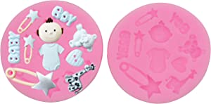 HengKe Cute Baby Silicone Fondant Cake Mold,2 PieceCandy Silicone Molds Set for Chocolate,Fondant,Polymer Clay,Soap,Crafting Projects & Cake Decoration,Gummy Sugar Mold