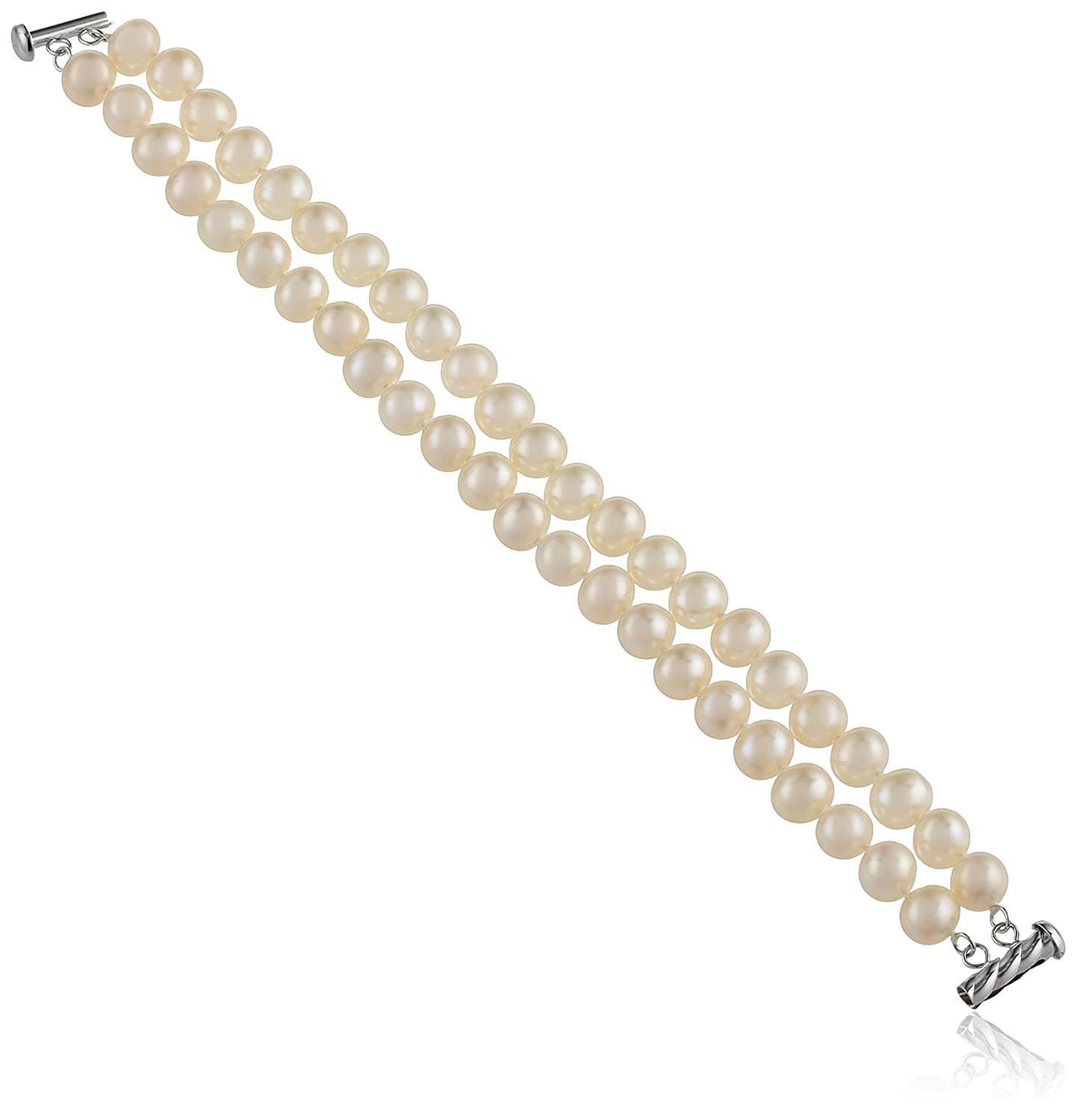 Sterling Silver 2-Row White Freshwater Cultured A Quality Pearl Bracelet (7.5-8mm), 8""