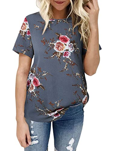 Weant Women Floral T-Shirt Sexy Short Sleeve Pullover Blouse Tops Jumper Womens Sale Clearance Teen Girl T-Shirt Blouse Plus Size