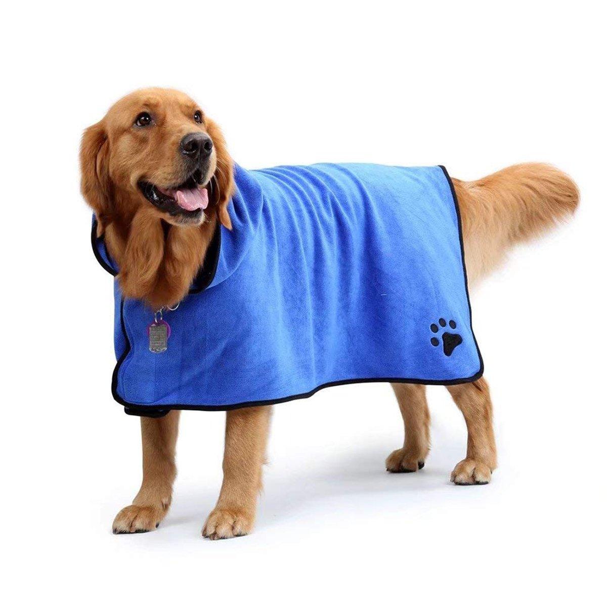 Albornoz azul para perro